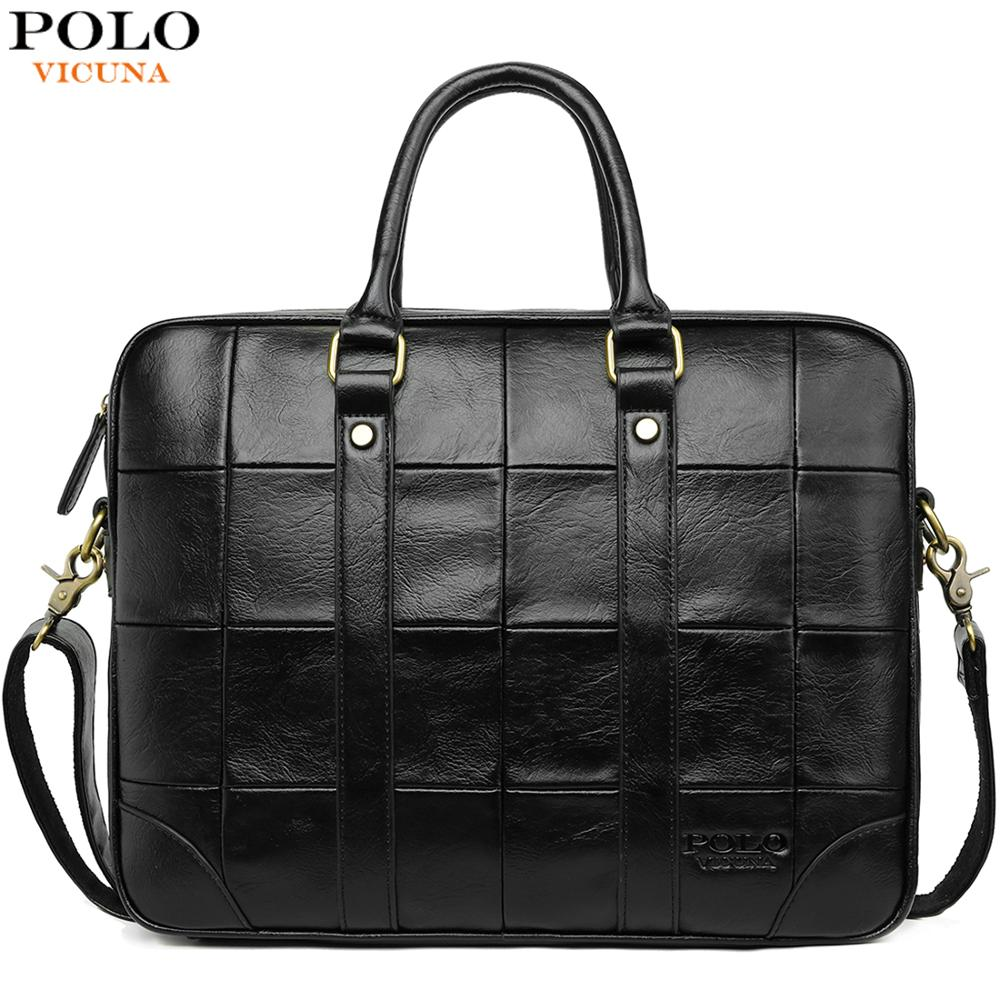 VICUNA POLO Classic Big Plaid Design Black Mens Leather Laptop Briefcase Solid Fashion Men's Leather Handbag Shoulder Bags-in Briefcases from Luggage & Bags