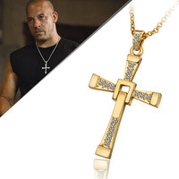 Free Shipping Fast And Furious 6 7 Hard Gas Actor Dominic Toretto 18k Golden Cross Necklace