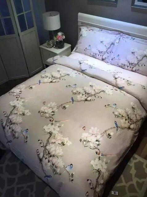 Bird print bedding set sheets duvet cover bed linen floral ... : size queen quilt - Adamdwight.com