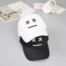 Бейсболка с вышитым смайликом, Детская Хлопковая черно-белая бейсболка, кепка в стиле хип-хоп, летняя повседневная детская шляпа для защиты от солнца