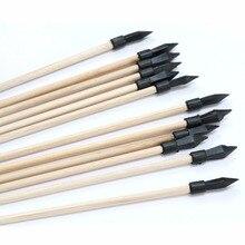 12/24pcs Wood Arrow 7mm 16 inches short arrow Rubber ArrowHead Casting pot Pitch-Pot Arrow