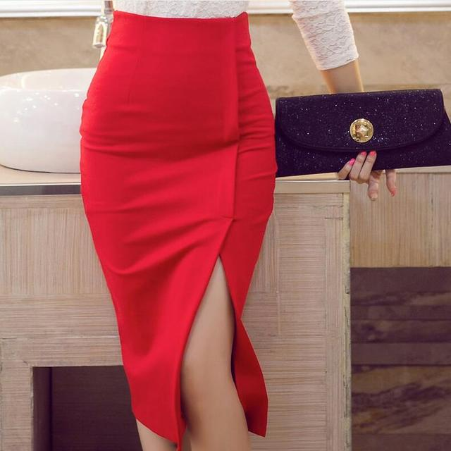 16f68abc8dff0d Autumn Womens Elegant OL Office Work pencil skirt High Waist Skirts Quality  Sexy slim Hip Skirt Plus Size S-4XL5XL