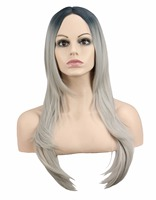 QQXCAIW Long Straight Cosplay Costume Party Women Black To Gray Grey Ombre 68 Cm Synthetic Hair