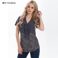 MS VASSA Women T Shirts 2017 Summer Fashion Ladies Tees Vintage Flower Print Short Sleeve V