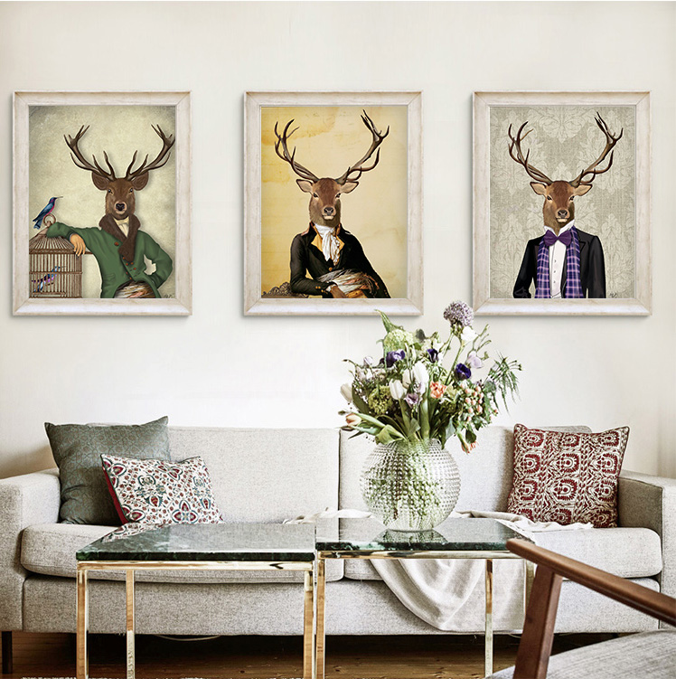 Modern Vintage Funny Deer Animal Poster Art Abstract Print Pictura Pictura pe perete Wall Decor Acasa Decor Pentru Copii No Frame