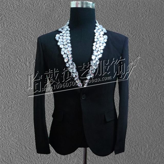 New homens de moda de luxo Rrhinestone acrílico blazers fino terno masculino traje fino ds traje desgaste desempenho