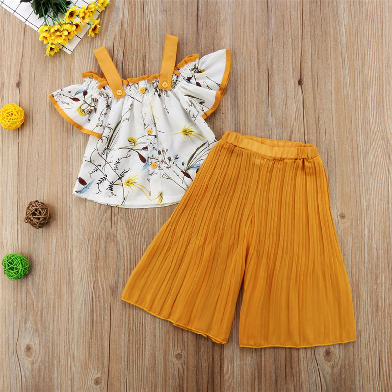 2019 Toddler Kids Baby Girls Strap Floral  Off Shoulder Tops + Loose Pants Outfits Set Clothes