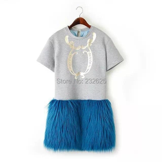 Real Shooting Women 39 S Fashion Hawaii Style Fake Fur Knitting Piecing Fake Fur Dresses Size S M
