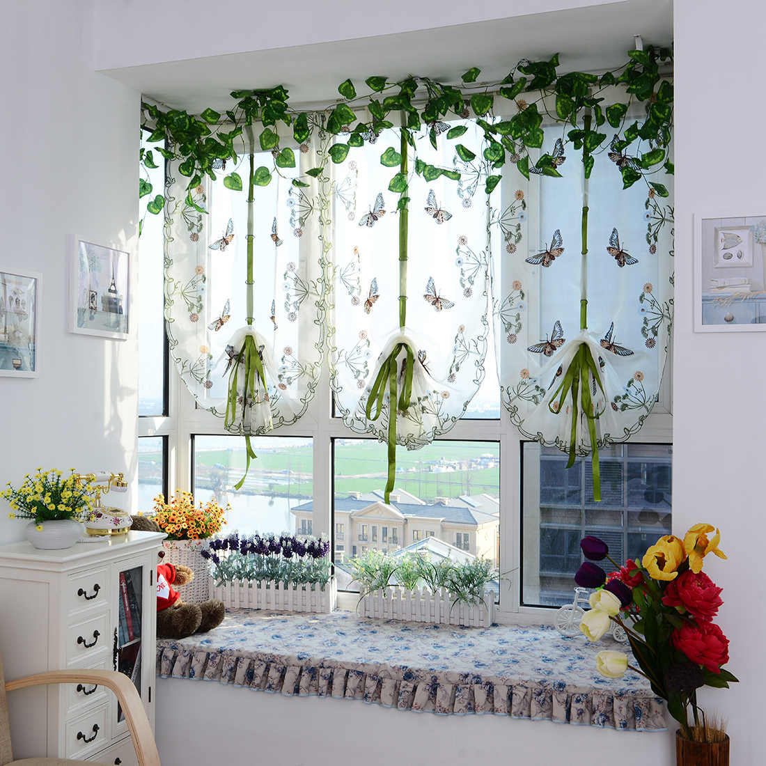 Short Curtain Tulle Butterfly For Kitchen Embroidered Window Valance Window Curtain Sheer Curtains For Living Room 80X100cm