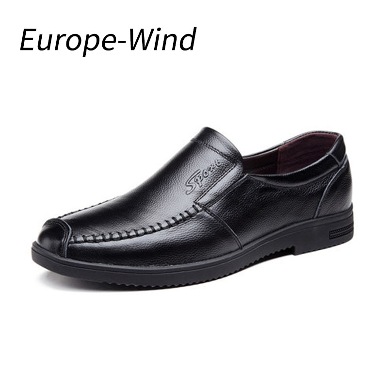 EuropeWind Men Cow Genuine Leather Shoes Young Men Business Casual Shoes Round Bottom Soft Casual Breathable Men Shoes Handmade top brand high quality genuine leather casual men shoes cow suede comfortable loafers soft breathable shoes men flats warm