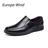 EuropeWind Men Cow Genuine Leather Shoes Young Men Business Casual Shoes Round Bottom Soft Casual Breathable