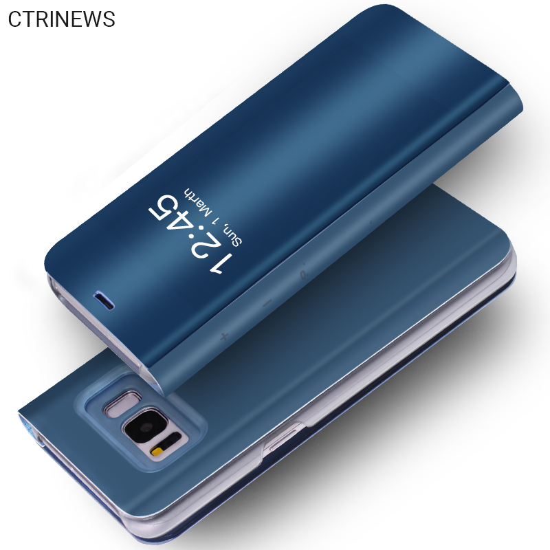 CTRINEWS Clear View Flip Fall Für Samsung Galaxy S7 Rand S8 S8 plus S6 Rand A3 A5 A7 2017 Spiegel Smart Leder-tasche abdeckung