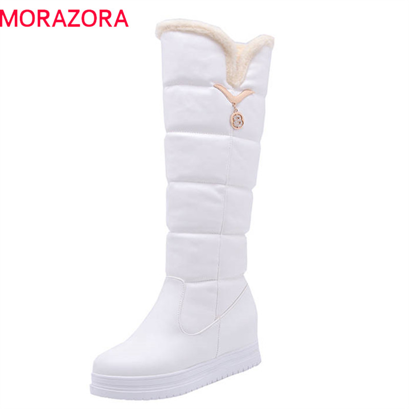 MORAZORA 2018 new fashion knee high boots women slip on round toe winter snow boots sweet simple casual shoes woman pink MORAZORA 2018 new fashion knee high boots women slip on round toe winter snow boots sweet simple casual shoes woman pink
