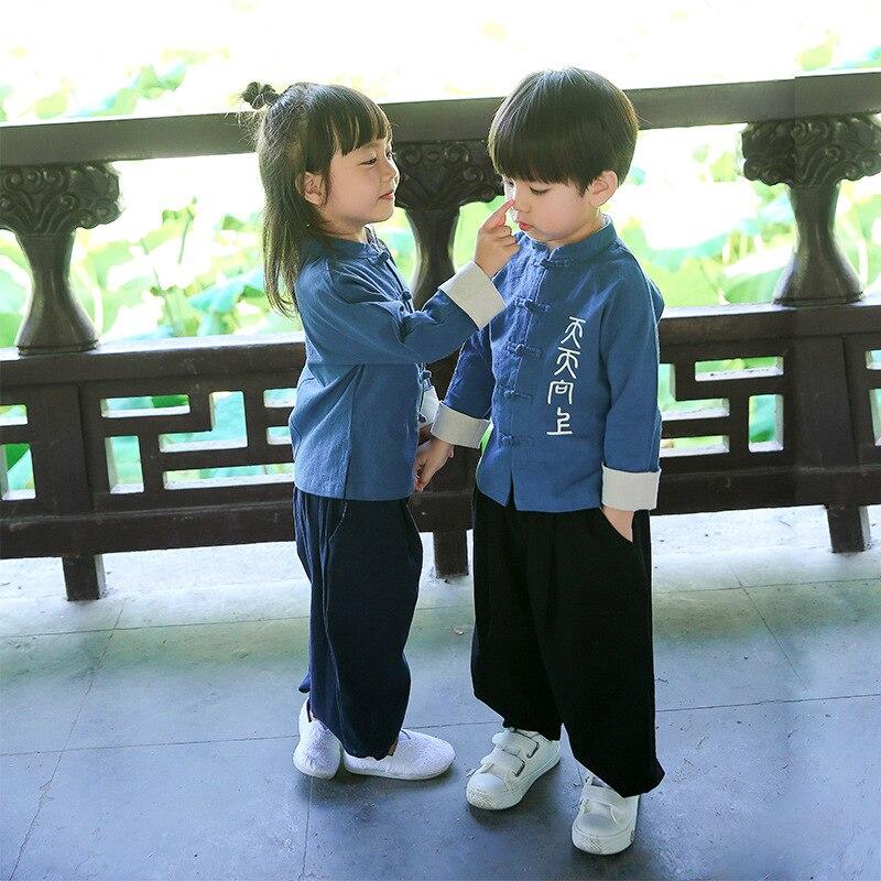 2018 Style chinois rétro Tang costume enfants enfants ensemble garçons filles vêtements ensembles soeur frère Vetement Enfant Fille