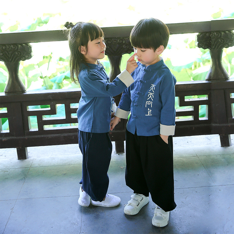 2018 Chinese Style Retro Tang Suit Children Kids Set Boys Girls Clothes Sets Sister Brother Vetement Enfant Fille 3pcs set 2017 kids clothes children boys clothing sets children summer shorts jeans suit outfits costumes vetement enfant garcon