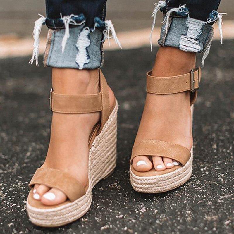 Sandals Women Heel Espadrilles Ankle-Buckles Open-Toe High-Wedges Female
