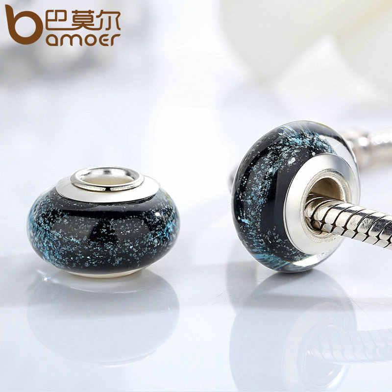 Bamoer 1 pc hotsale prata cor preto europeu contas de vidro murano ajuste pulseira & colar moda jóias por atacado pa6369