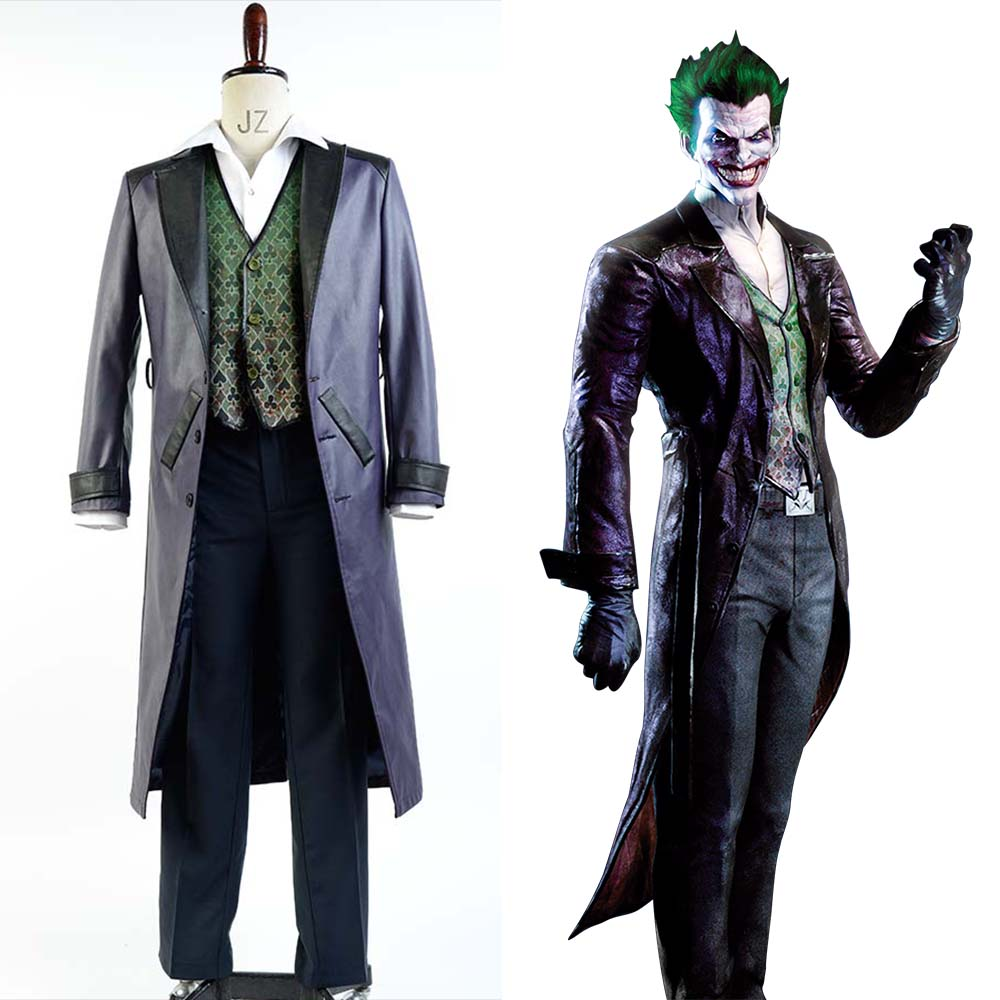 Batman Arkham Origins Blackgate Joker Outfit Cosplay Costume For Men Women  full set costume
