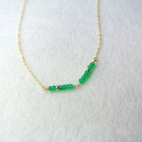 LiiJi Unique Natural Green Onyx 2mm beads 925 sterling silver Gold Color Choker Necklace 35cm/40cm/45cm Drop shipping