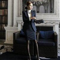 المرأة 2 قطعة تعيين مكتب ارتداء الملابس المهنية النسائية اللباس الأعمال بذلات السترة طويلة الأكمام الورك طويلة مثير اللباس 2017