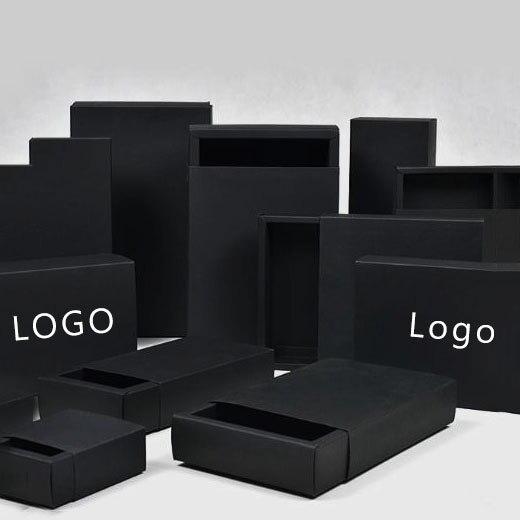 100pcs Lot 8 Sizes Custom Logo Black Drawer Box For Packaging Blank