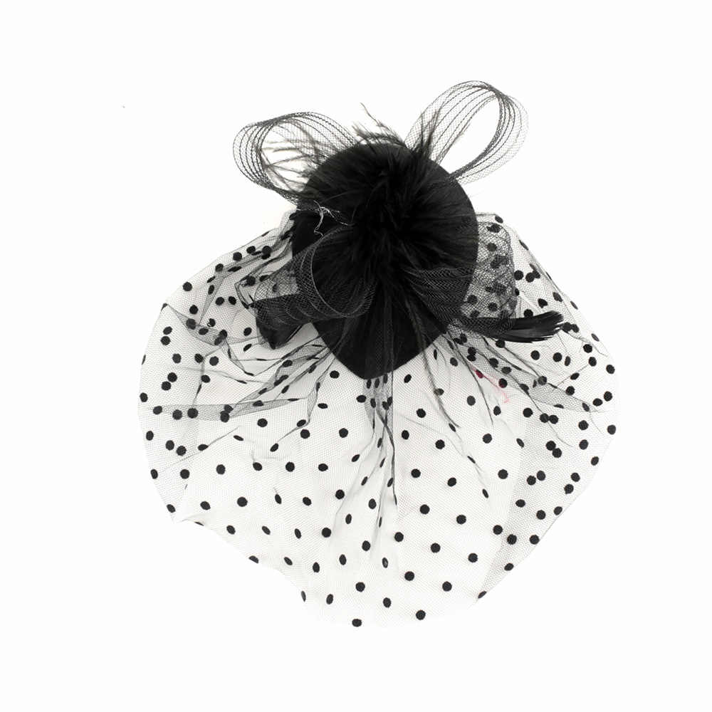 Feather Polka Dot Mesh Retro Vintage Gatsby Style Racing Wedding Carnival Hats