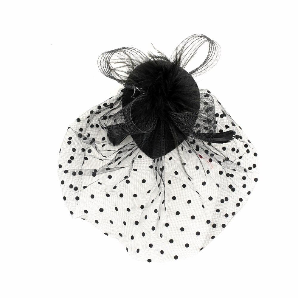 187.27руб. 41% СКИДКА|Модная новинка стильная элегантная женская черная Коктейльная шляпа с перьями для вечеринки заколка для волос сетка вуаль повязка для волос аксессуары для волос|Женские аксессуары для волос| |  - AliExpress