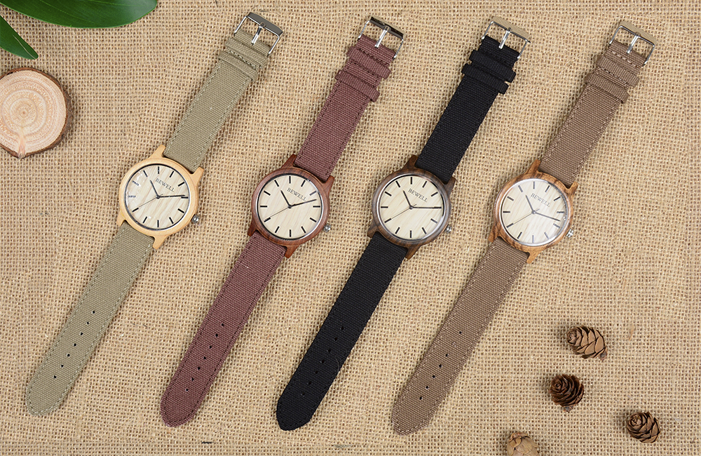 BEWELL Bamboo Wood Watch Analog Digital For Men 45
