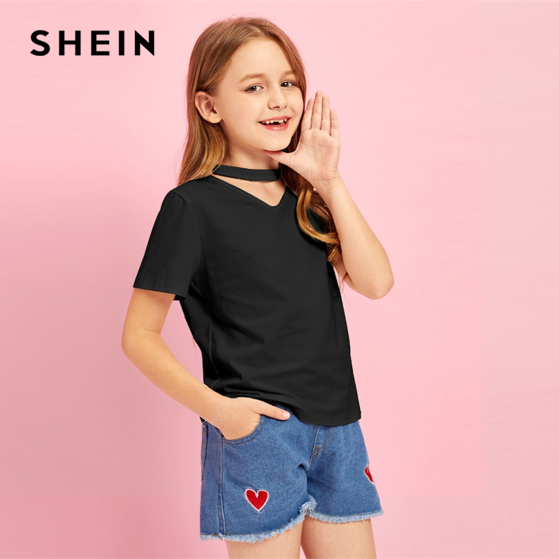 SHEIN Kiddie Black Solid V Neck Cut Out Casual T-Shirt Girls Clothes 2019 Summer Streetwear Short Sleeve Kids Tees Teenager Tops black sexy deep v neck tie up backless crochet lace swimwear