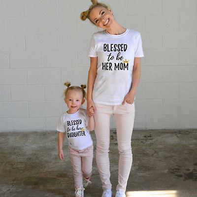 Mode Familie Passender Kleidung Mutter Tochter Kurzarm T-shirt Top Frau Kinder Casual Familie Outfit Passen Blusa T-shirts Mutter & Kinder