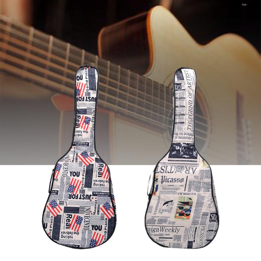Retro Design 41 inch Personality Flag Guitar Bag Use Canvas Breathable Built-in velvet Waterproof Guitar backpack (no packaging) 12mm waterproof soprano concert ukulele bag case backpack 23 24 26 inch ukelele beige mini guitar accessories gig pu leather