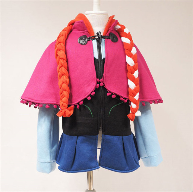 New Year Winter Anna Princess Hooded Coat Girls Hoodies Jacket ...