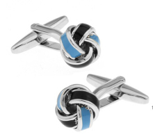 iGame Factory Price Retail Men's Cufflinks Blue Color Brass Material Knot Design Cuff Links
