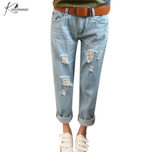 New Arrival Mid Waist Jeans Boyfriend Jeans For Women Loose Style Low Elastic Plus Size Jeans Womans Causal Full Length Jeans 38