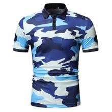 Camouflage Summer Tops Men Polo Shirt Men's Clothing Casual Tees Polo Shirt Men Short sleeve Lapels Blue Army Green New все цены