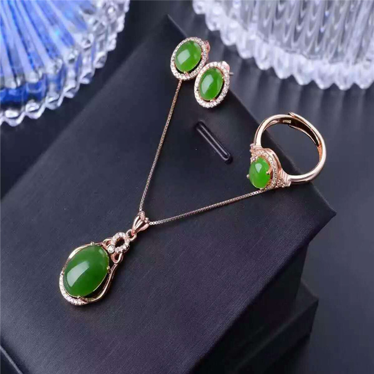 Natural jade set inlaid jewelry wholesale S925 Silver Sterling Silver free postage