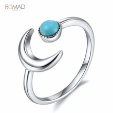 925 Sterling Silver Ring Moon Blue Stone Adjustable Open Rings For Women Lovers Wedding Jewelry vintage design ring natural larimar ring 925 sterling silver jewelry oval larimar stone wedding rings women adjustable ring size