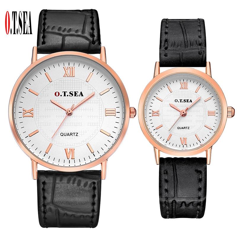 Top O.T.SEA Brand Roman Numerals Leather Pair Watches Men Women Unisex Casual Dress Quartz Wristwatches 6688-7