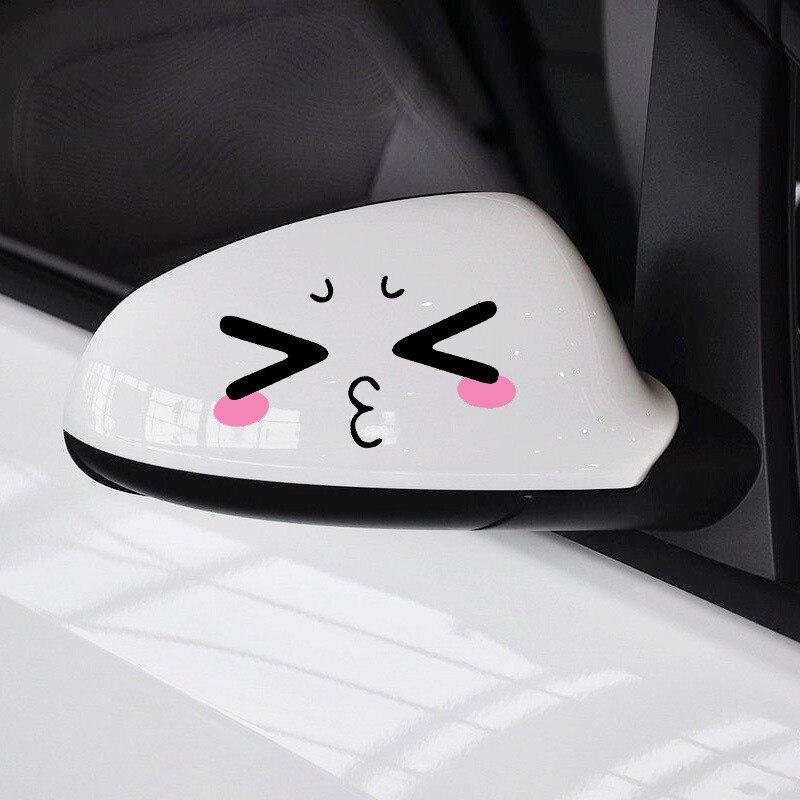 1 пара, 2 шт., 3D забавные светоотражающие наклейки для лица и глаз, автомобильные наклейки для головы грузовика, для автомобильного двигателя,...