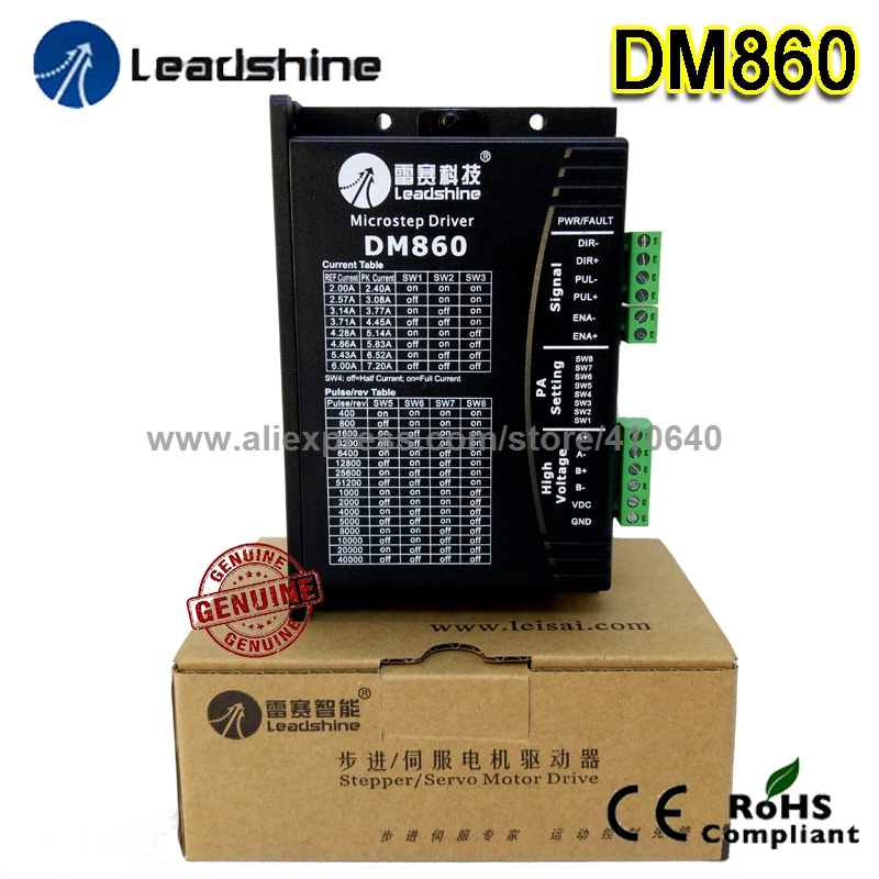 1 Piece GENUINE Leadshine DM860 2-Phase 32-Bit DSP Digital Stepper Drive of 20 to 80 VDC Voltage and 2.4 - 7.2A Output Current new leadshine dm2282 cnc high voltage digital stepper drive 2 phase working 80 220vac 0 52 8 2a push output nema34 and nema