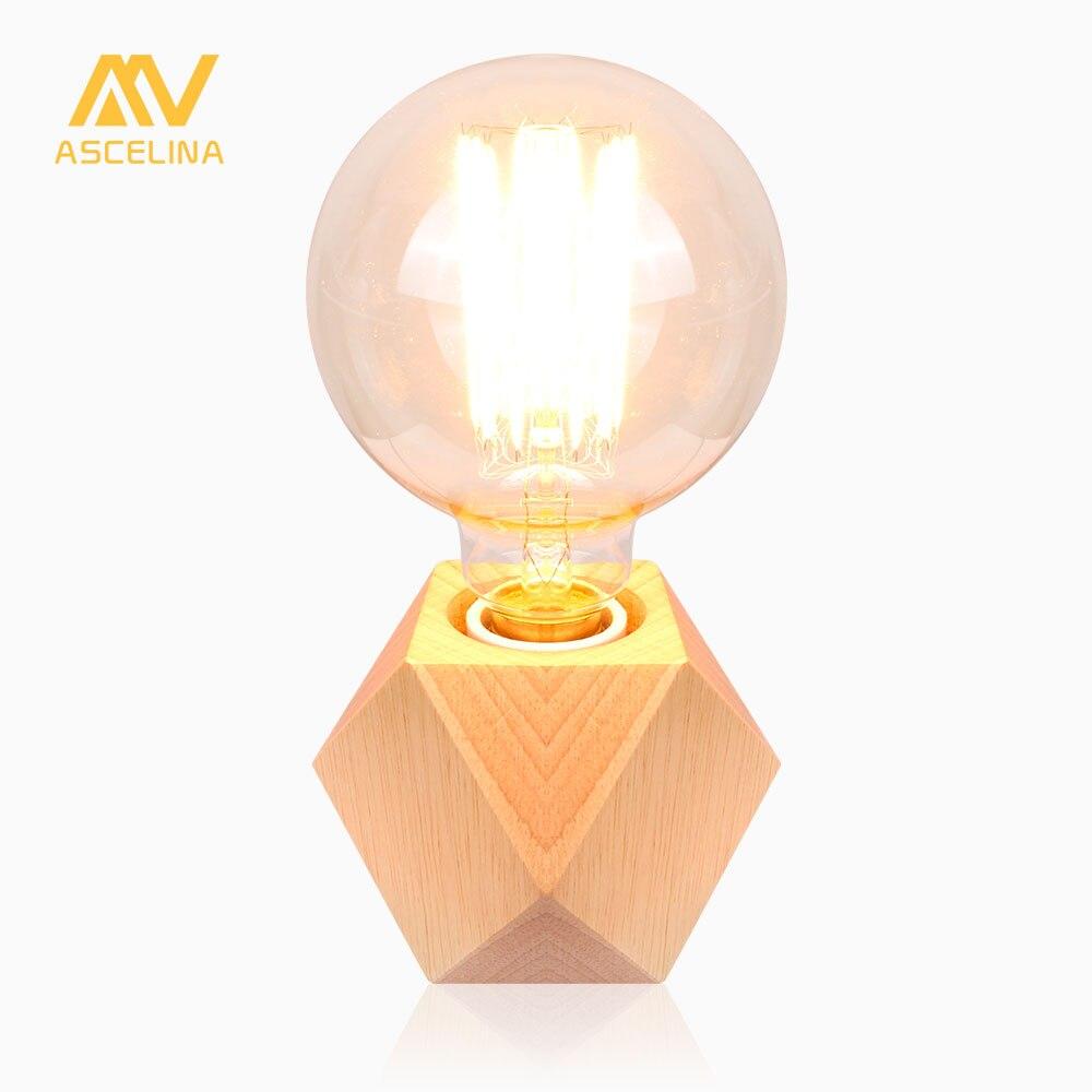 De Madera lámpara de escritorio nórdico lámpara de mesa de madera de escritorio led mini luz de lectura mesa de luz y las oficinas botón/Dimmer interruptor E27 85-260 V