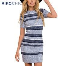 Rikochic 2018 женщин Вязание платья пикантные Тонкий Bodycon платье с коротким рукавом в полоску вязаный свитер пакет бедра платье D022