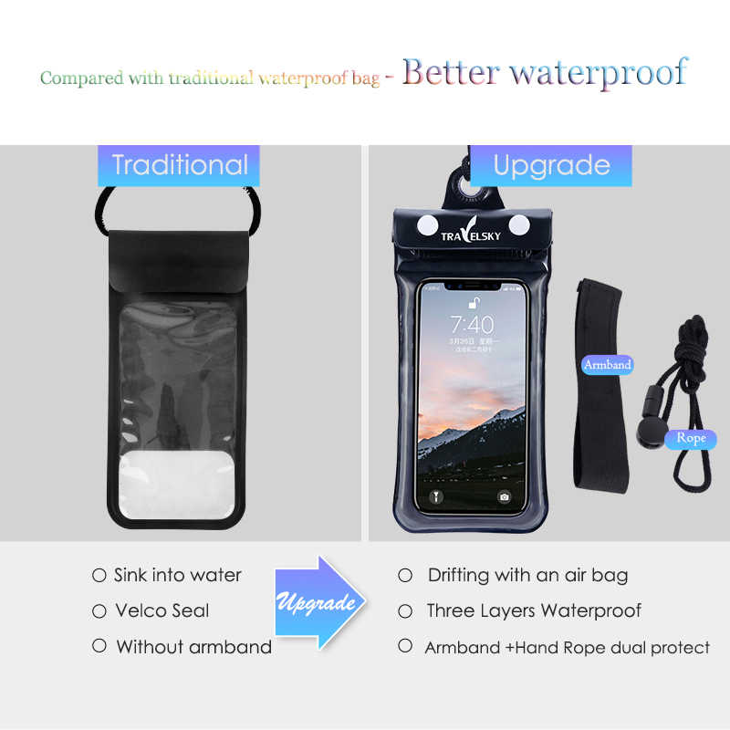 Dry Phone Bag PVC ABS Float Airbag Transparent Universal Swimming Accessories