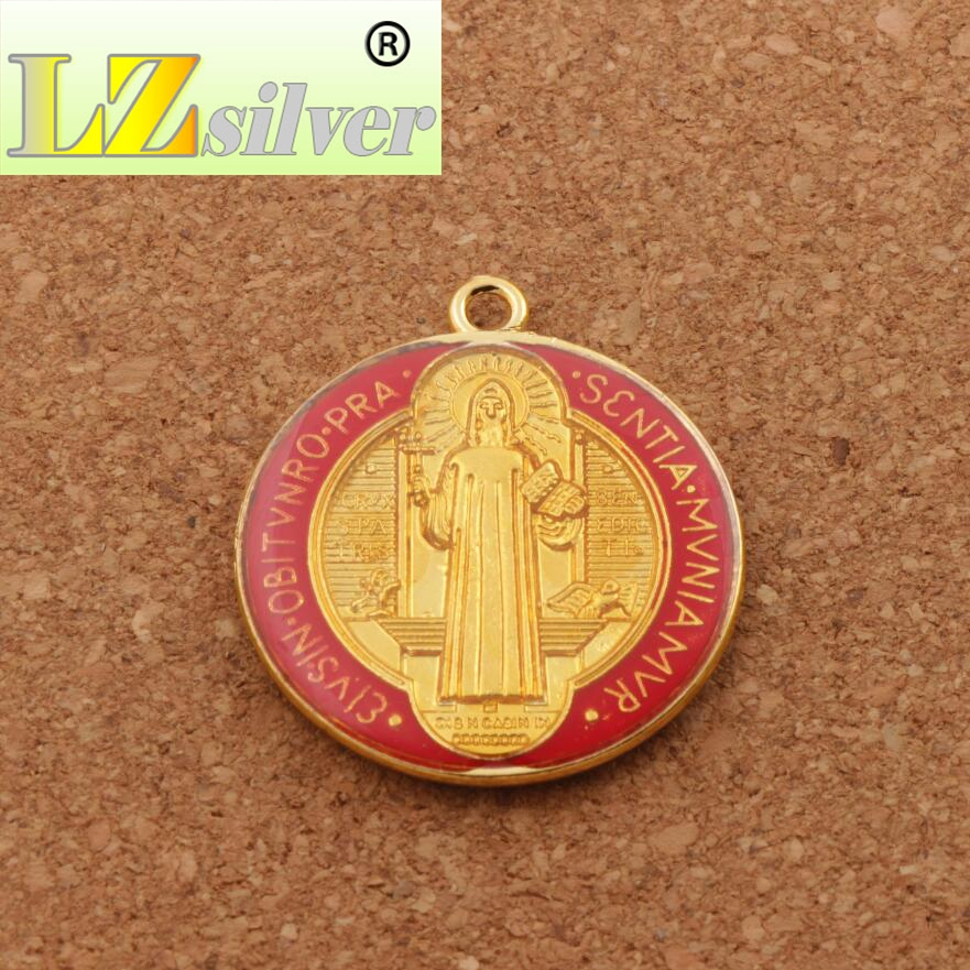 Enamel Saint Benedict Medal Cross Crucifix Smqlivb Spacer Beads 2pcs - Perhiasan fesyen - Foto 4