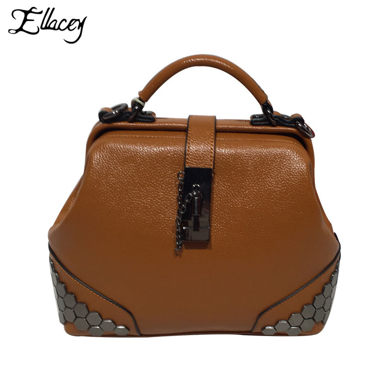 New 2017 PU Leather Doctor Bag Women Vintage Casual Rivet Handbags For Women Designer Small Bag With Lock Top-Handle Bags Totes gucci туалетная вода flora by gucci fraiche 75 ml