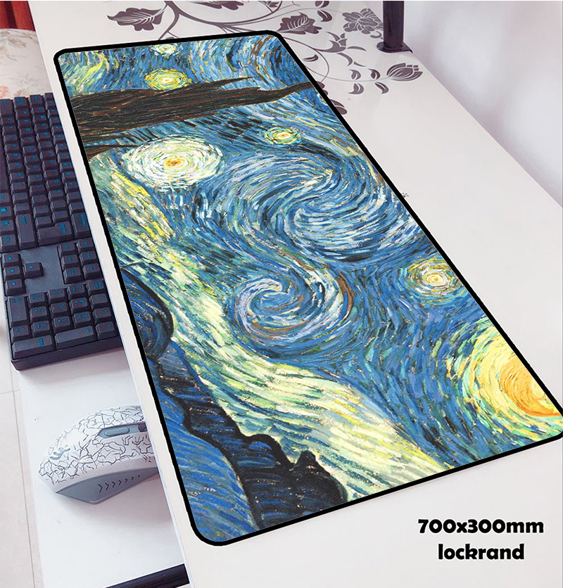 Van Gogh Mouse Pads 70x30cm Pad To Mouse Notbook Computer Mousepad World Map Gaming Mousepad Gamer To Keyboard Laptop Mouse Mat