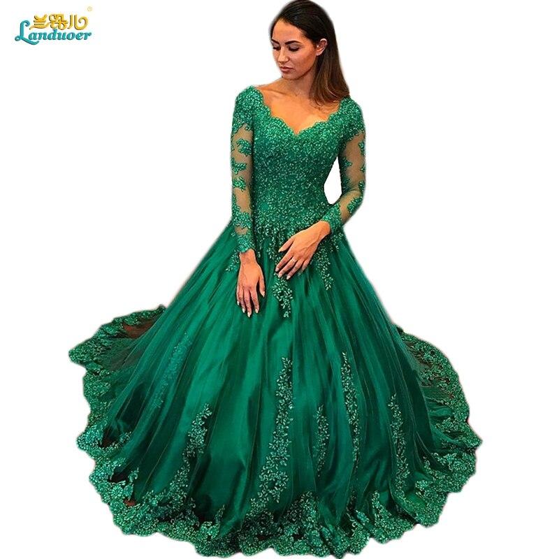 Élégant vert émeraude à manches longues robes