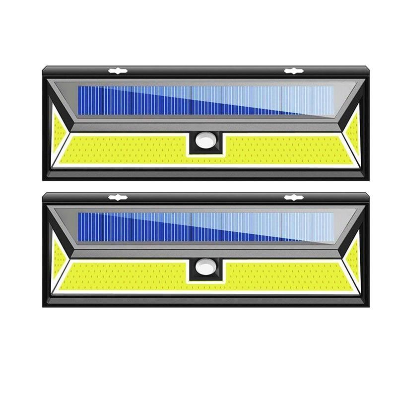 2 Pack 180 LED COB Solar Garden Motion Sensor Wall Light Waterproof Lamp Wide Lighting Angle