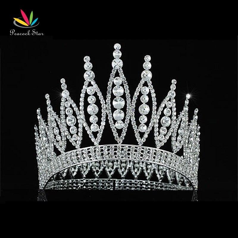 Paon Étoiles Mousseux Concours de Beauté Haute Qualité Pageant Grand 4.6 Tiara Full Circle Round Crystal Crown CT1723