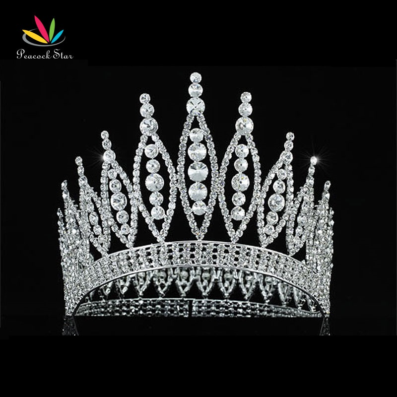 Peacock Star Sparkling Beauty Contest High Quality Pageant Tall 4.6 Tiara Full Circle Round Crystal Crown CT1723 peacock star bridal wedding party quality sparkling pageant beauty contest black crystal tall tiara ct1389